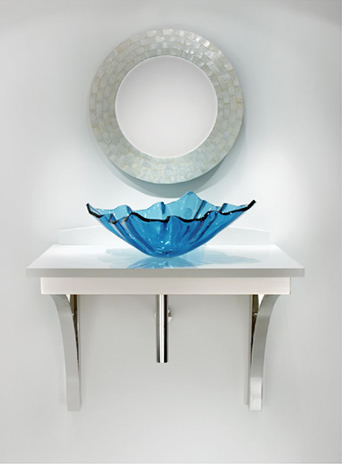 Great-design-bathroom-mirror-with-round-shape-wonderful-blue-sink-made-from-glass-and-white-top